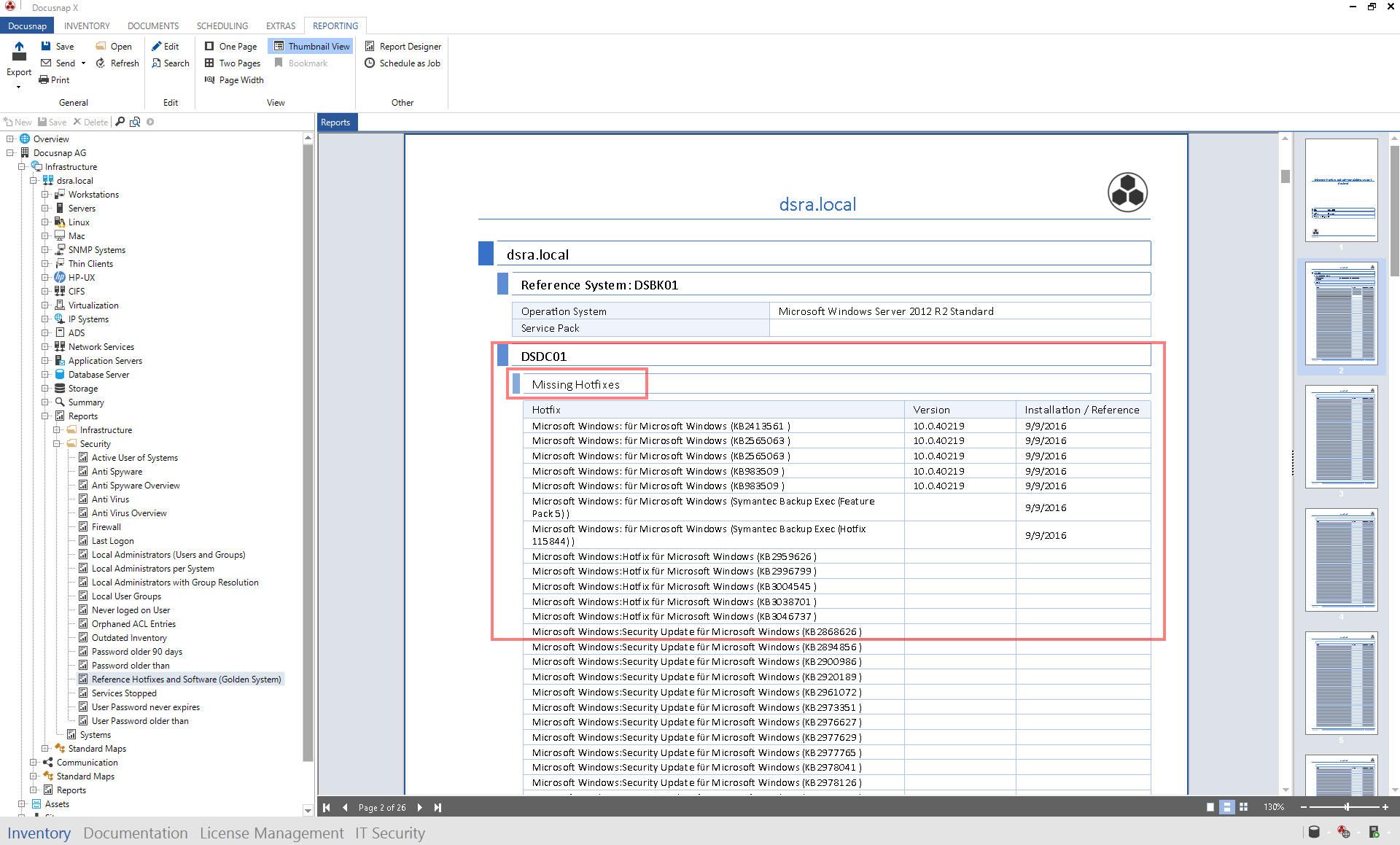 Missing hotfixes in Reporting of Docusnap