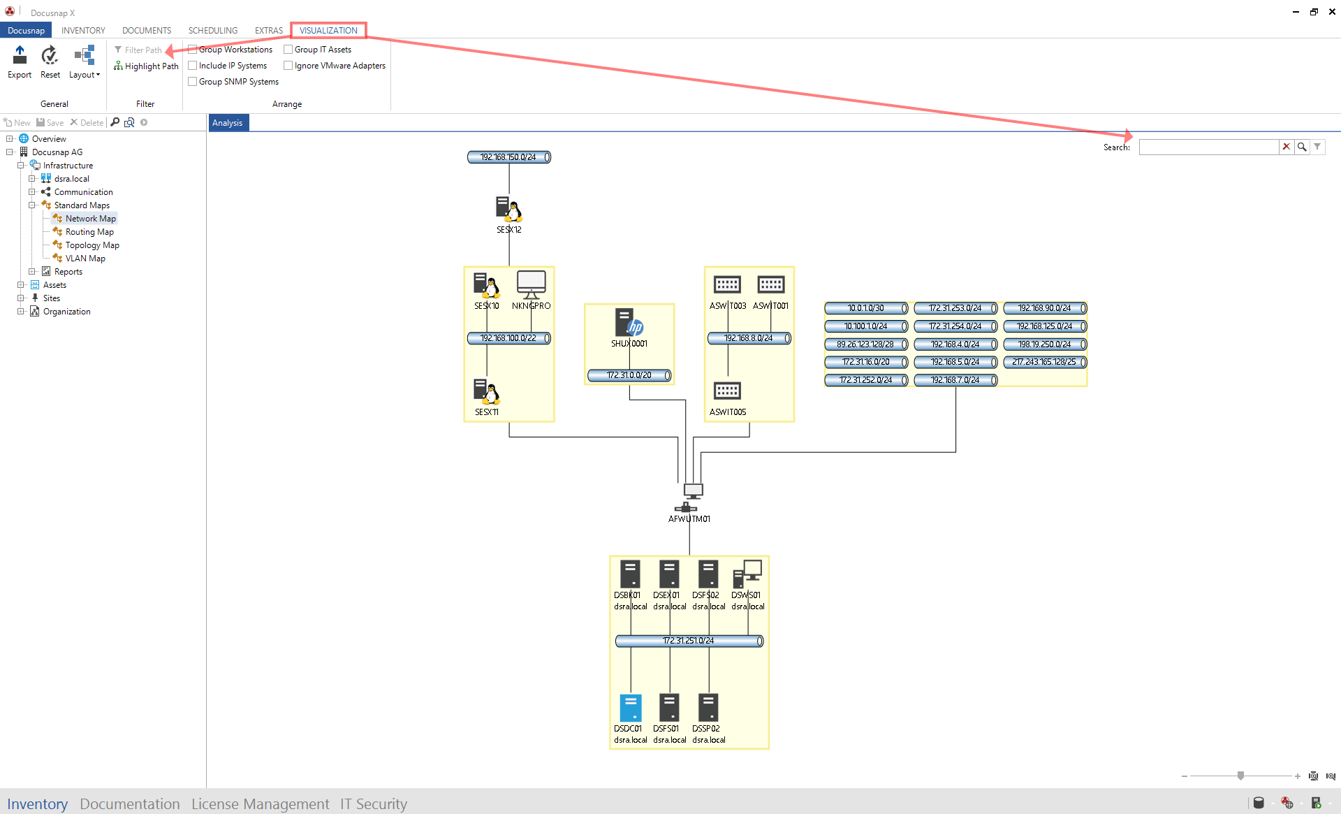 Visualization of network maps in Docusnap