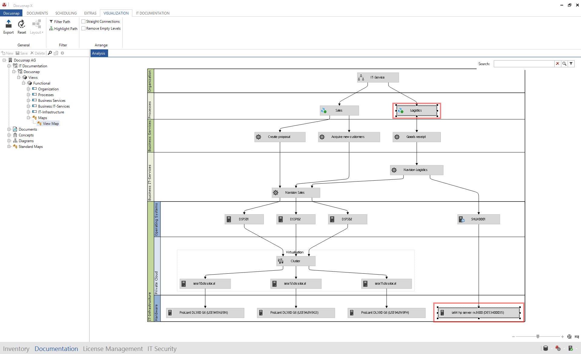 There's the function highlight path in the visualization of Docusnap