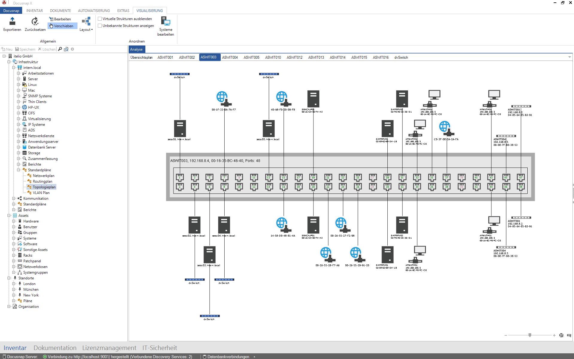 Darstellung Core Switch Frontpanel in Netzwerkdokumentation
