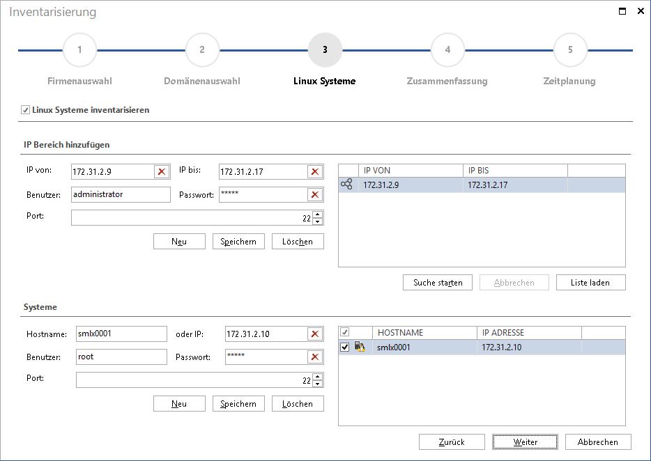 Assistent Linux Inventarisierung in Docusnap