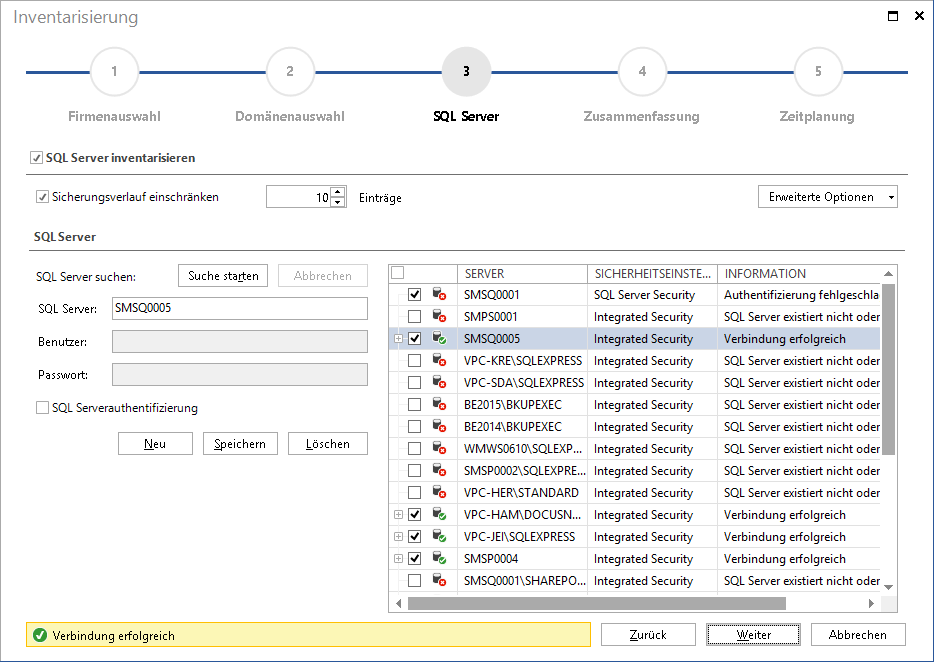 Screenshot: Microsoft SQL Server Inventarisierungsassistent