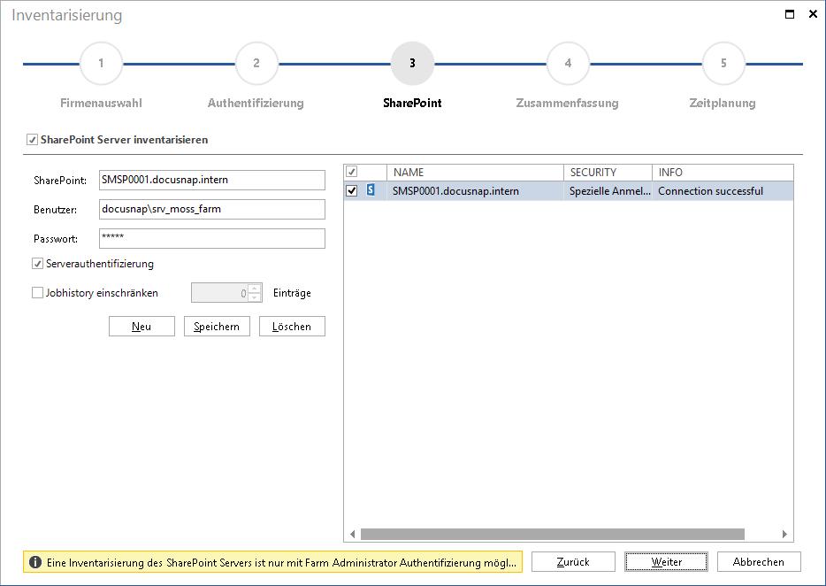 Assistent SharePoint Inventarisierung