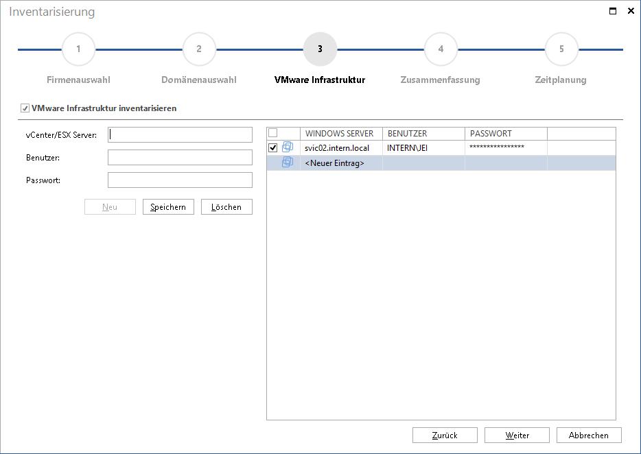 Assistent VMware Inventarisierung