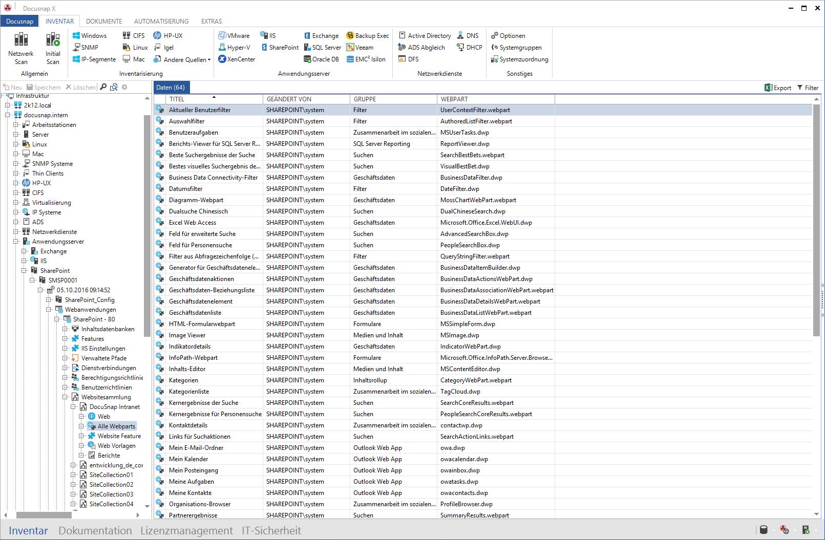 Ausgabe von Ergebnissen der SharePoint Inventarisierung