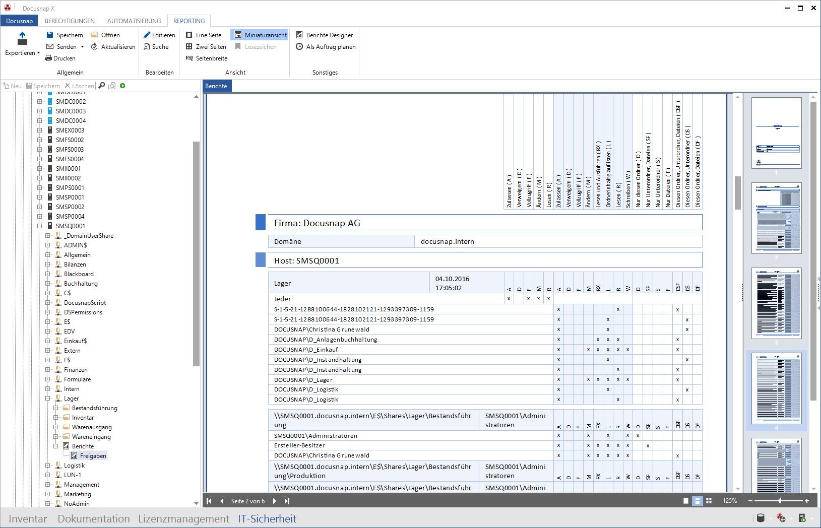 Auswertungsberichte innerhalb der Berechtigungsanalyse