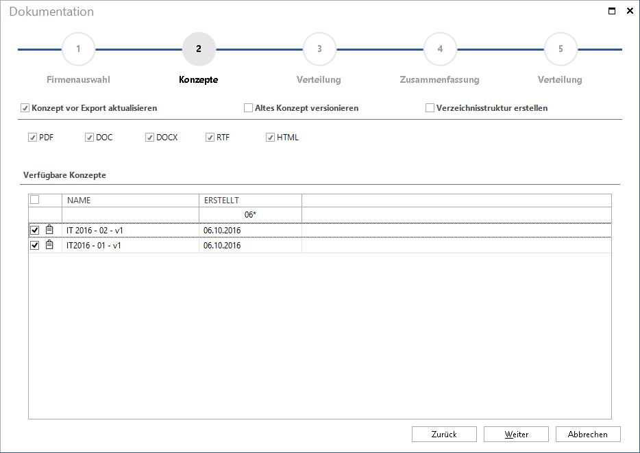 Screenshot: Automatisierung der IT-Konzept Erstellung