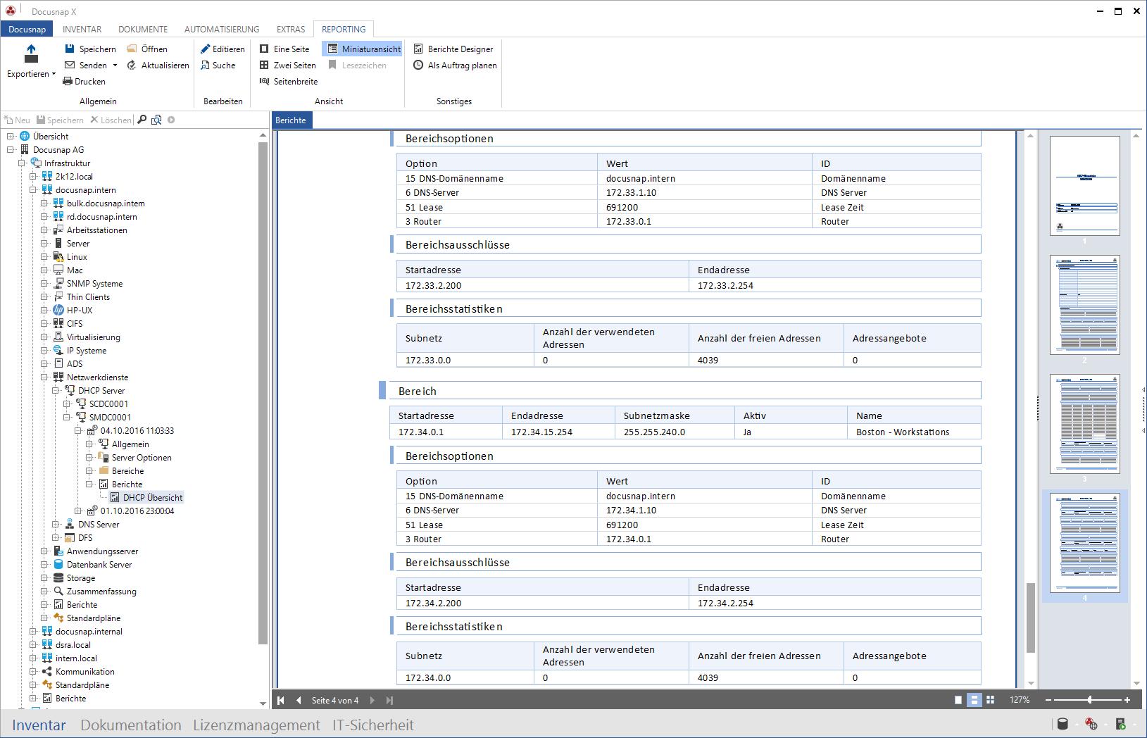 Screenshot: DHCP dokumentieren und automatisierte Berichterstellung