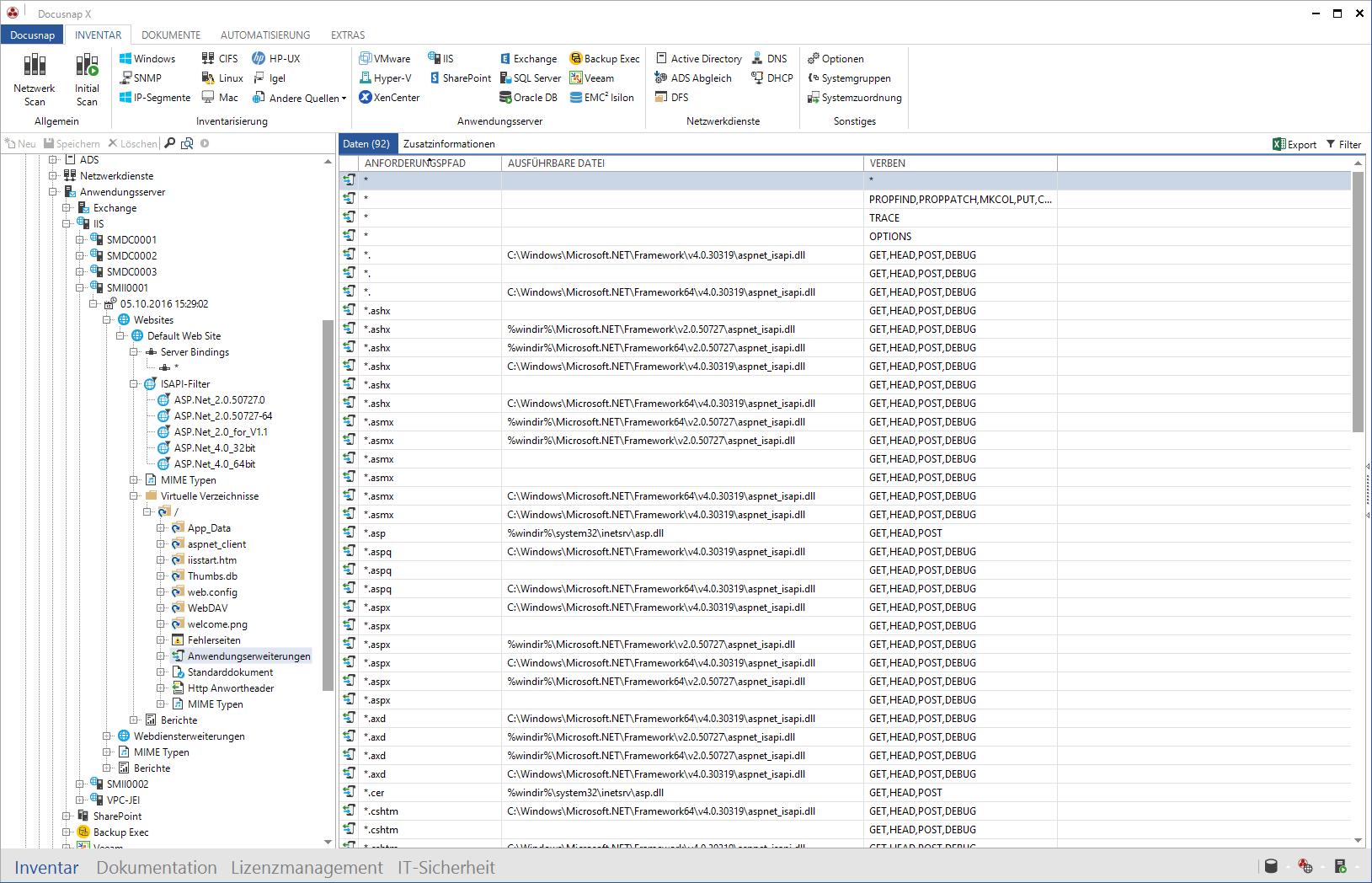 Darstellung Webseiteninformationen des Microsoft IIS