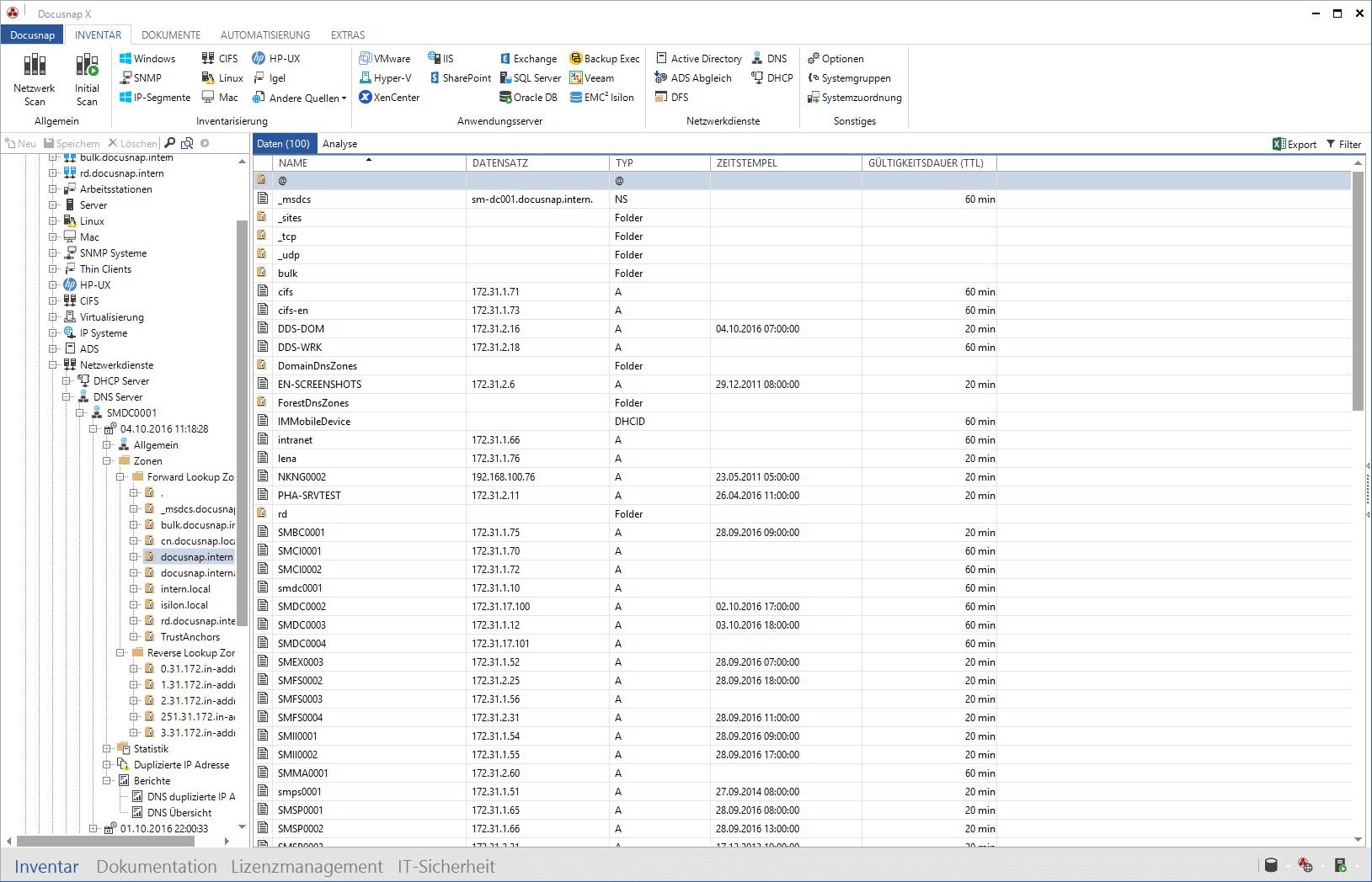 Darstellung der Microsoft DNS Inventarisierung im Datenexplorer