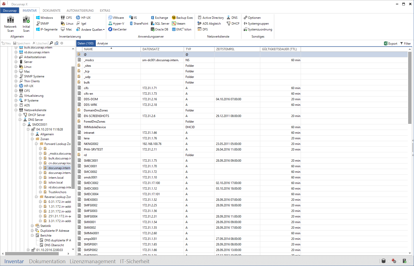 Screenshot: Microsoft DNS Inventarisierung im Datenexplorer