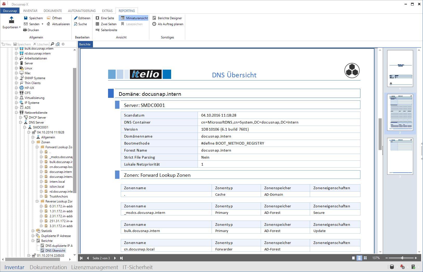Screenshot: Darstellung der Microsoft DNS Inventarisierung
