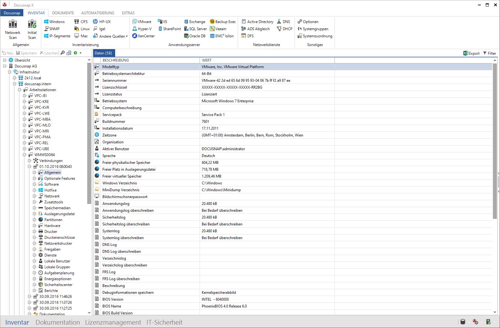 Screenshot: Darstellung Netzwerk-Inventarisierung im Datenexplorer