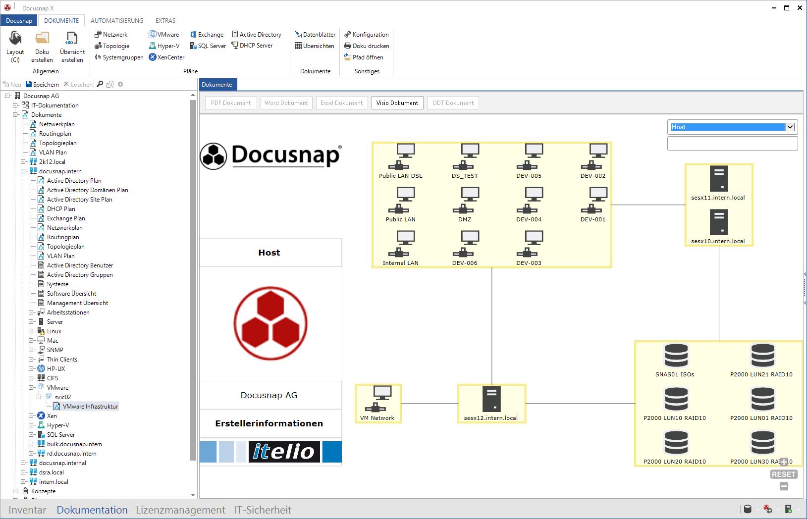 Darstellung der VMware Umgebungen innerhalb der VMware Inventarisierung