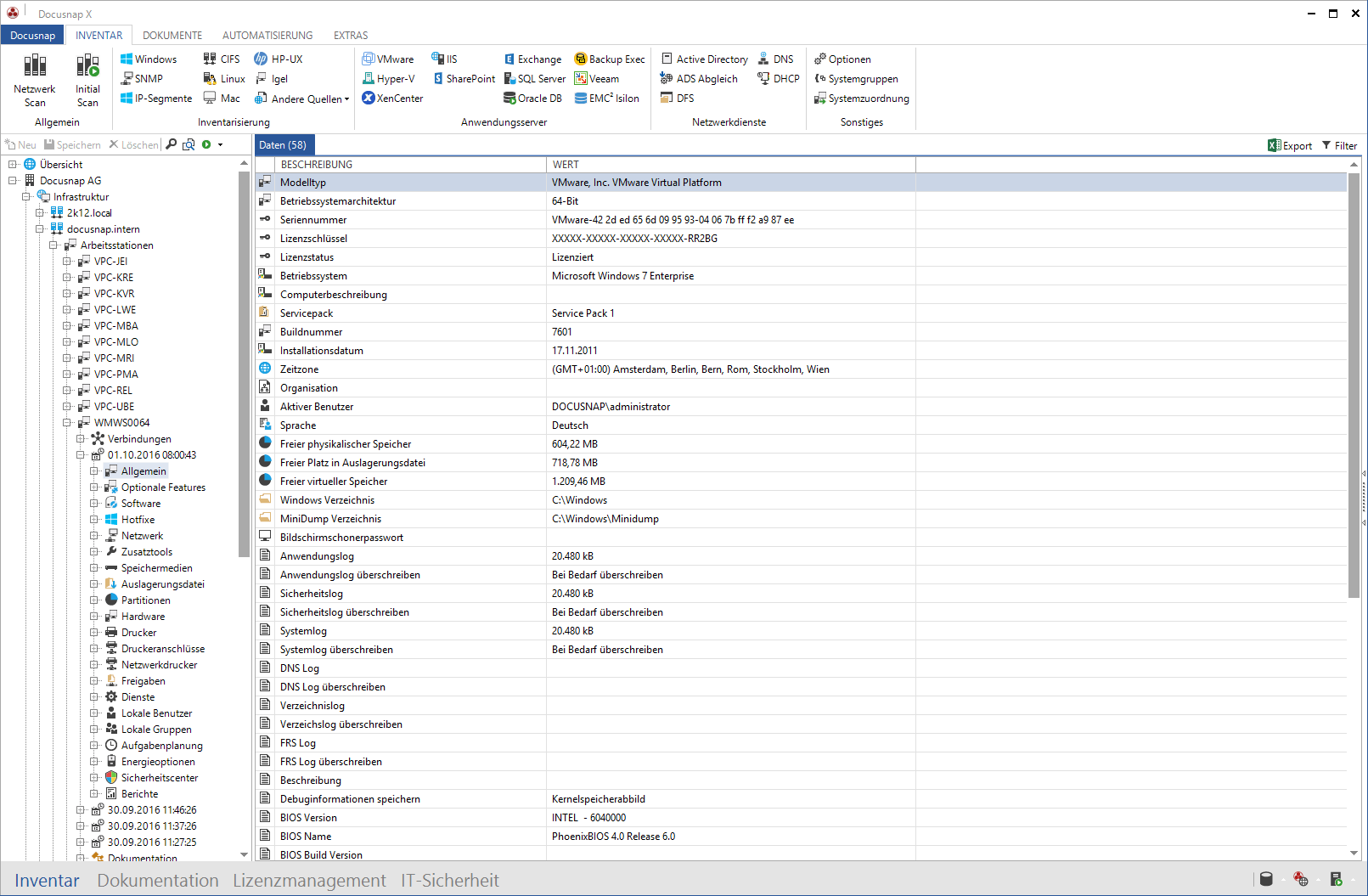 Darstellung der Windows Netzwerk-Inventarisierung im Datenexplorer