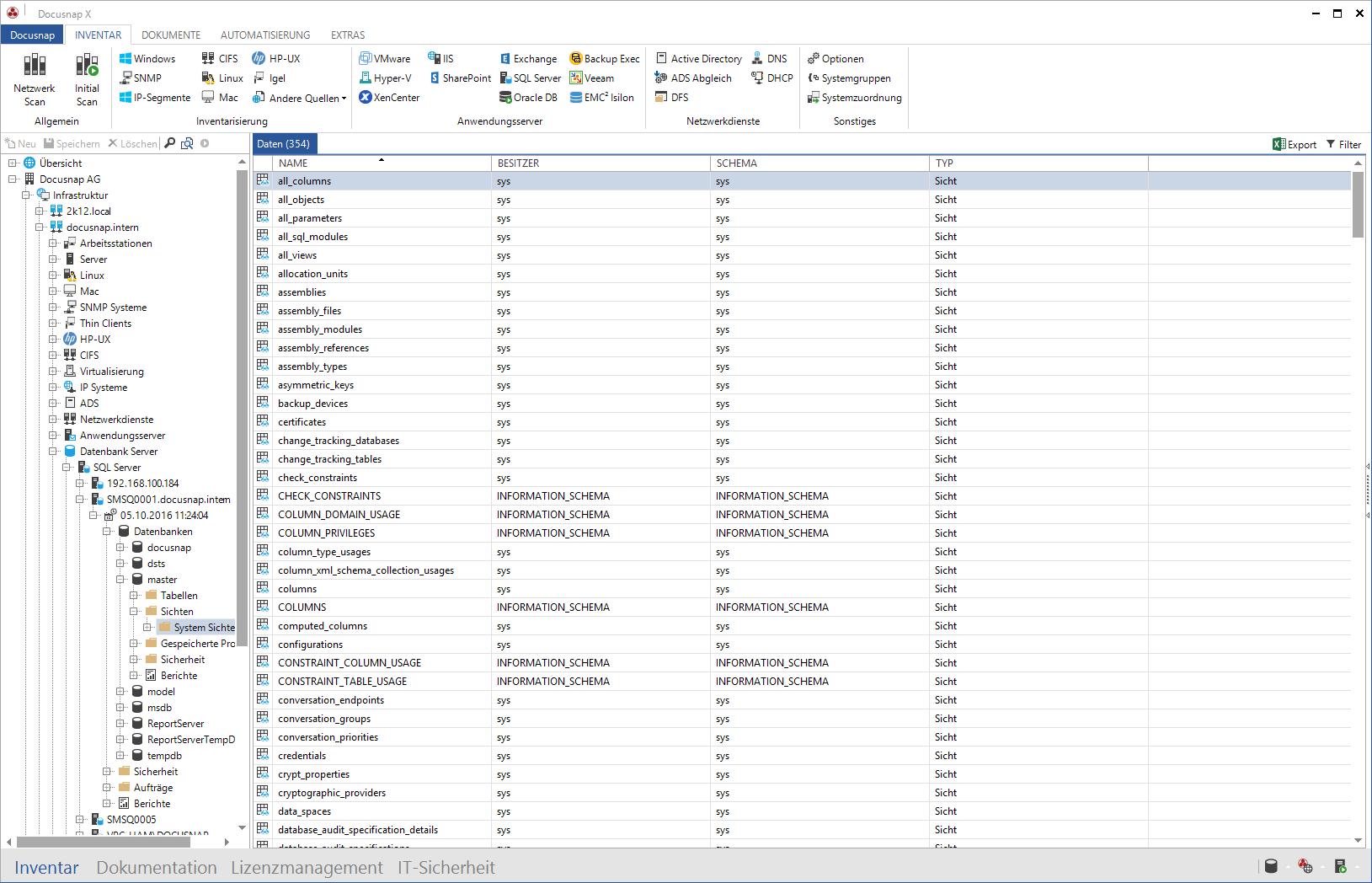 Darstellung der inventarisierten Microsoft SQL Server Informationen im Datenexplorer