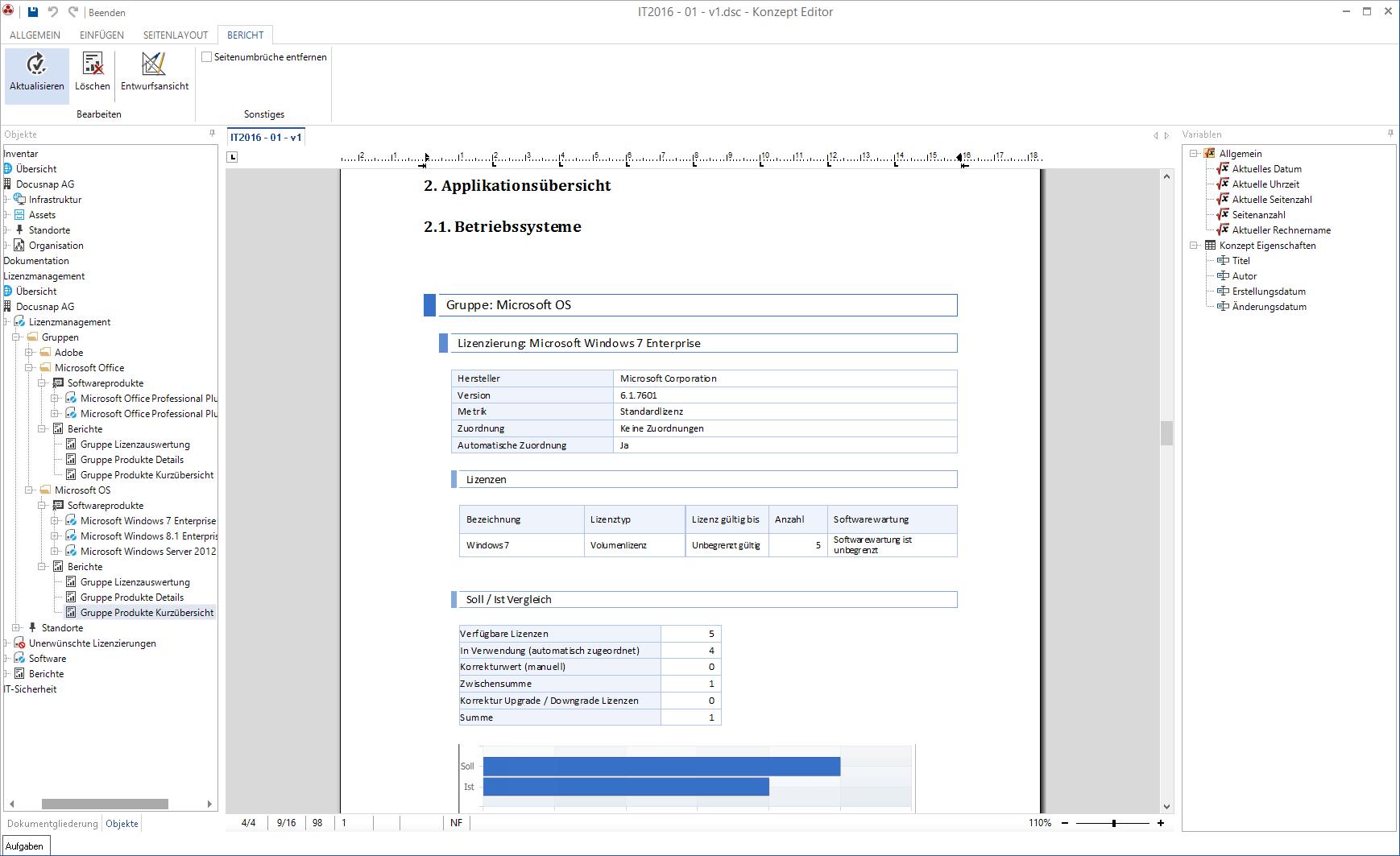 Screenshot: Bericht-Darstellung IT-Konzept