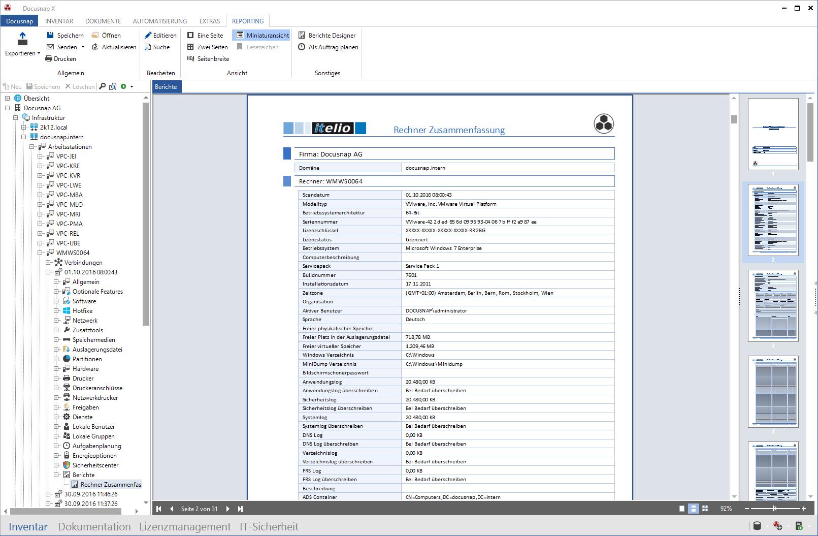 Screenshot: Datenblätter Windows Netzwerk-Inventarisierung
