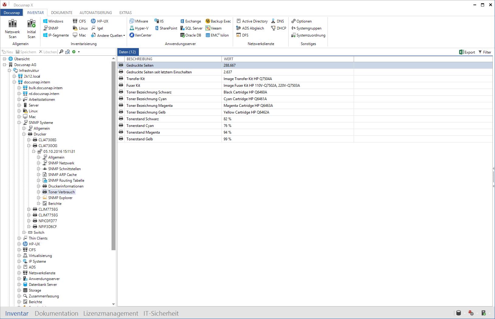 Screenshot: Erfassung von Druckerinformationen (zum Beispiel Tonerbestände)