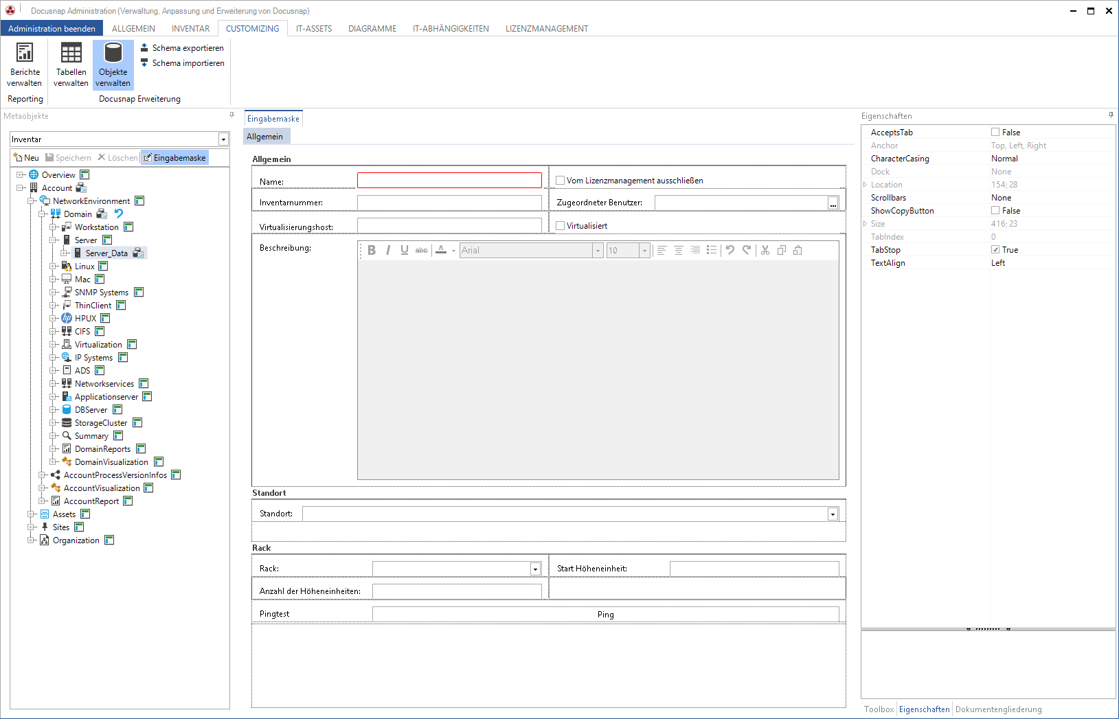 Screenshot: Erstellung von Eingabemasken
