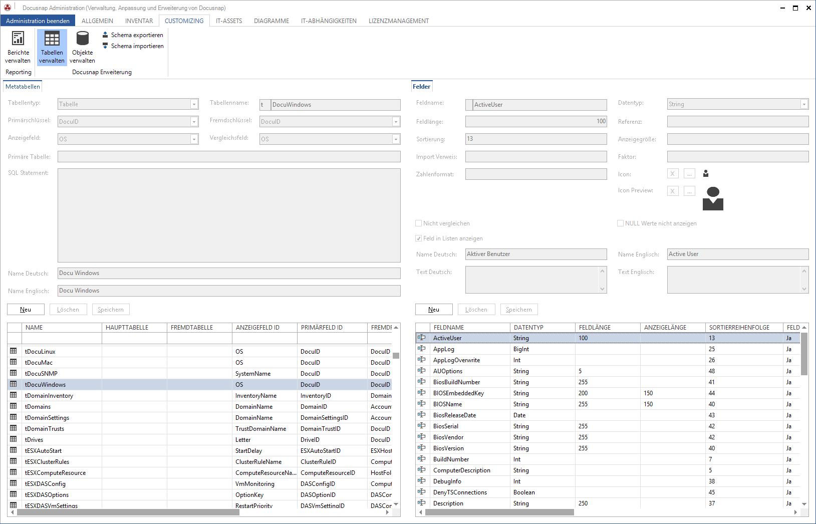 Screenshot: Datenstruktur-Erweiterung