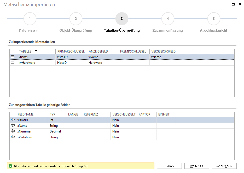 Screenshot: Export von Anpassungen und Datenbank-Import