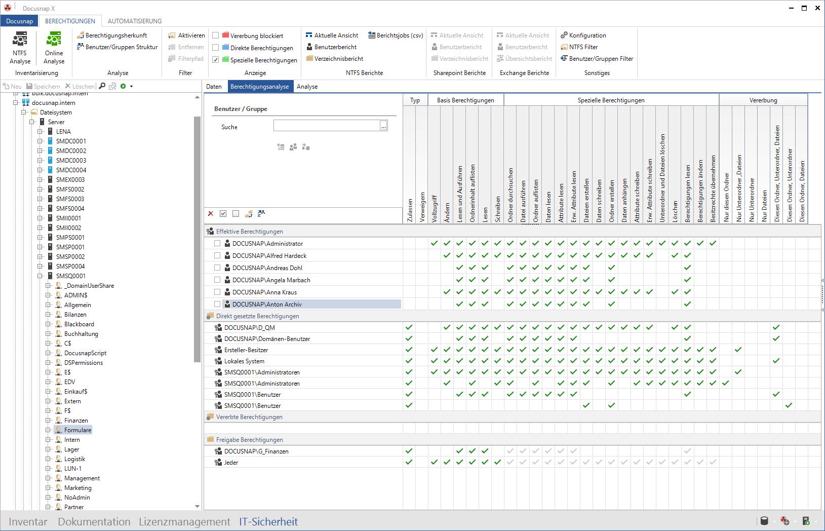 Freigabe und NTFS Berechtigungen im Rahmen der Berechtigungsanalyse