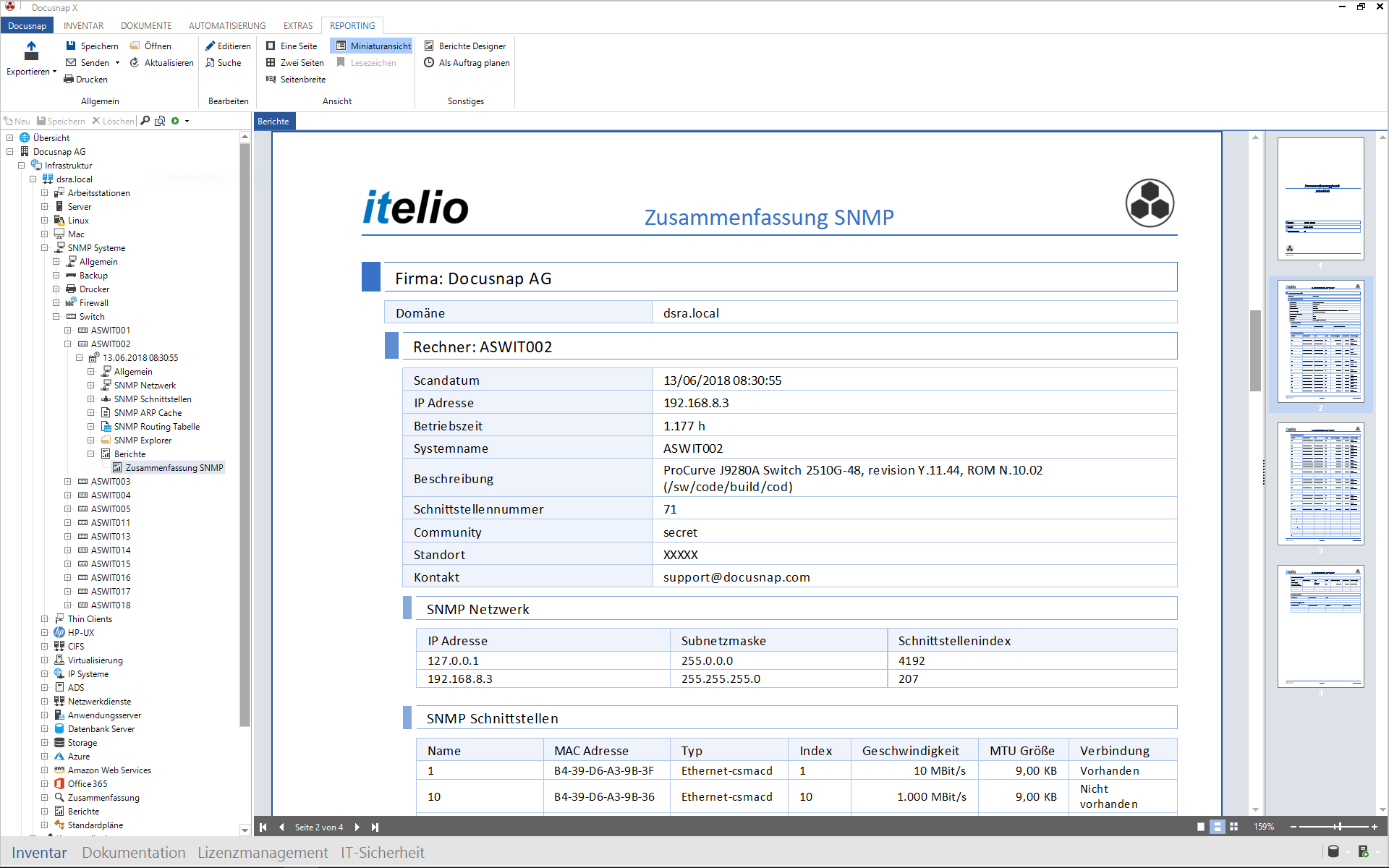 Generierung eines SNMP Systemberichts