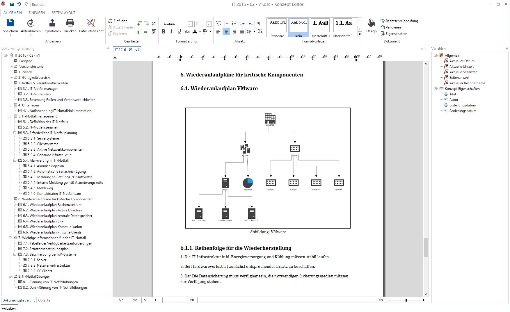 Screenshot: Wiederanlaufplan IT-Nofallhandbuch
