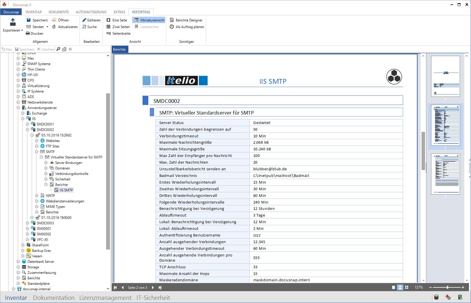 Screenshot: Inventarisierung SMTP Server und SMTP Bericht