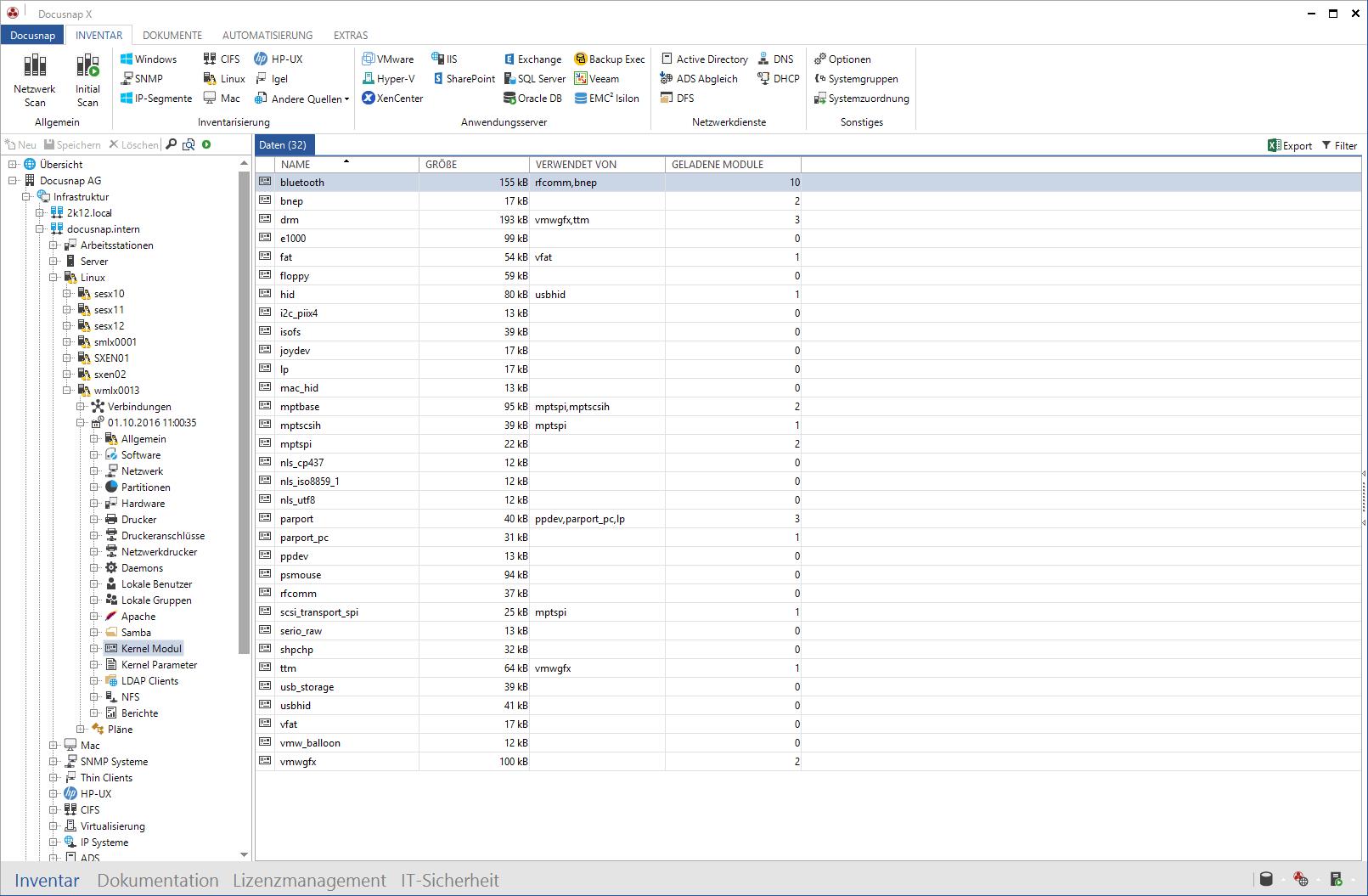 Linux Hardware Inventarisierung und Systeminformationen in Docusnap