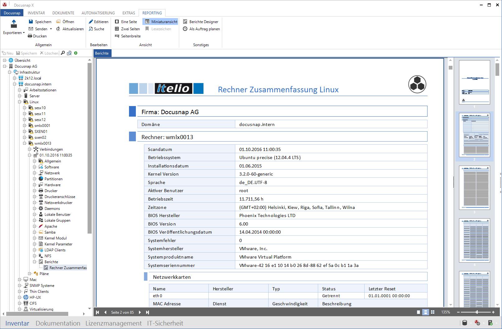 Screenshot: Systembericht Linux-Inventarisierung