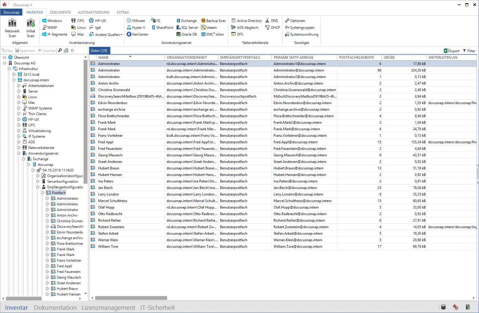 Liste von Microsoft Exchange Berechtigungen auf Postfächer