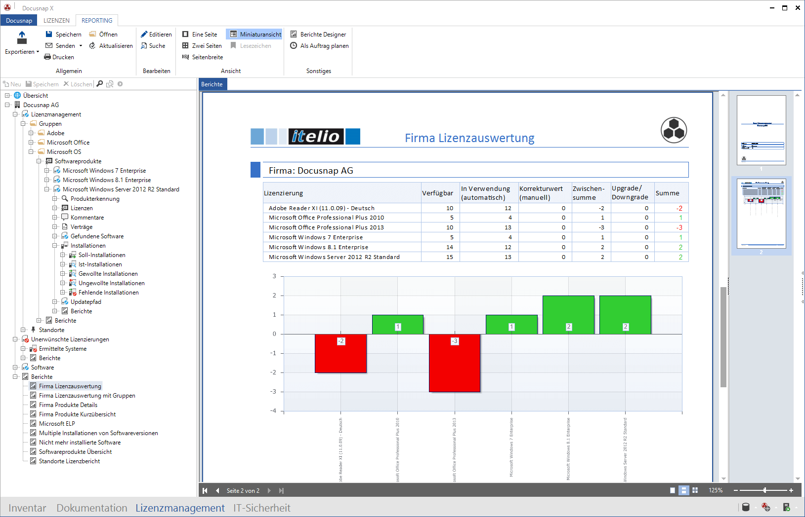 Screenshot: Lizenzauswertung innerhalb der IT-Dokumentation