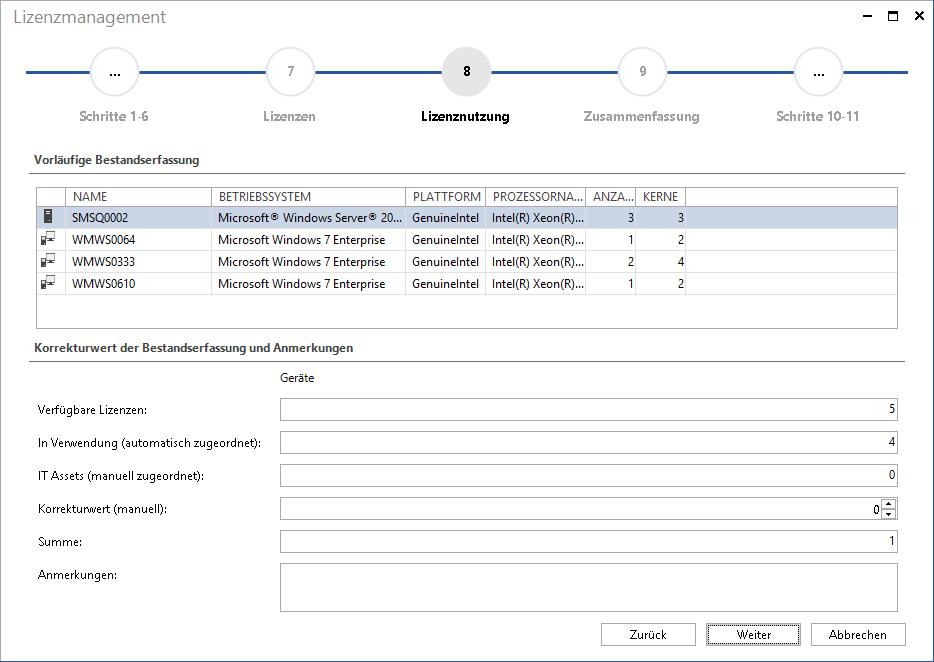 Screenshot: Lizenzauswertung nach Geräten CPU oder CPU Kernel