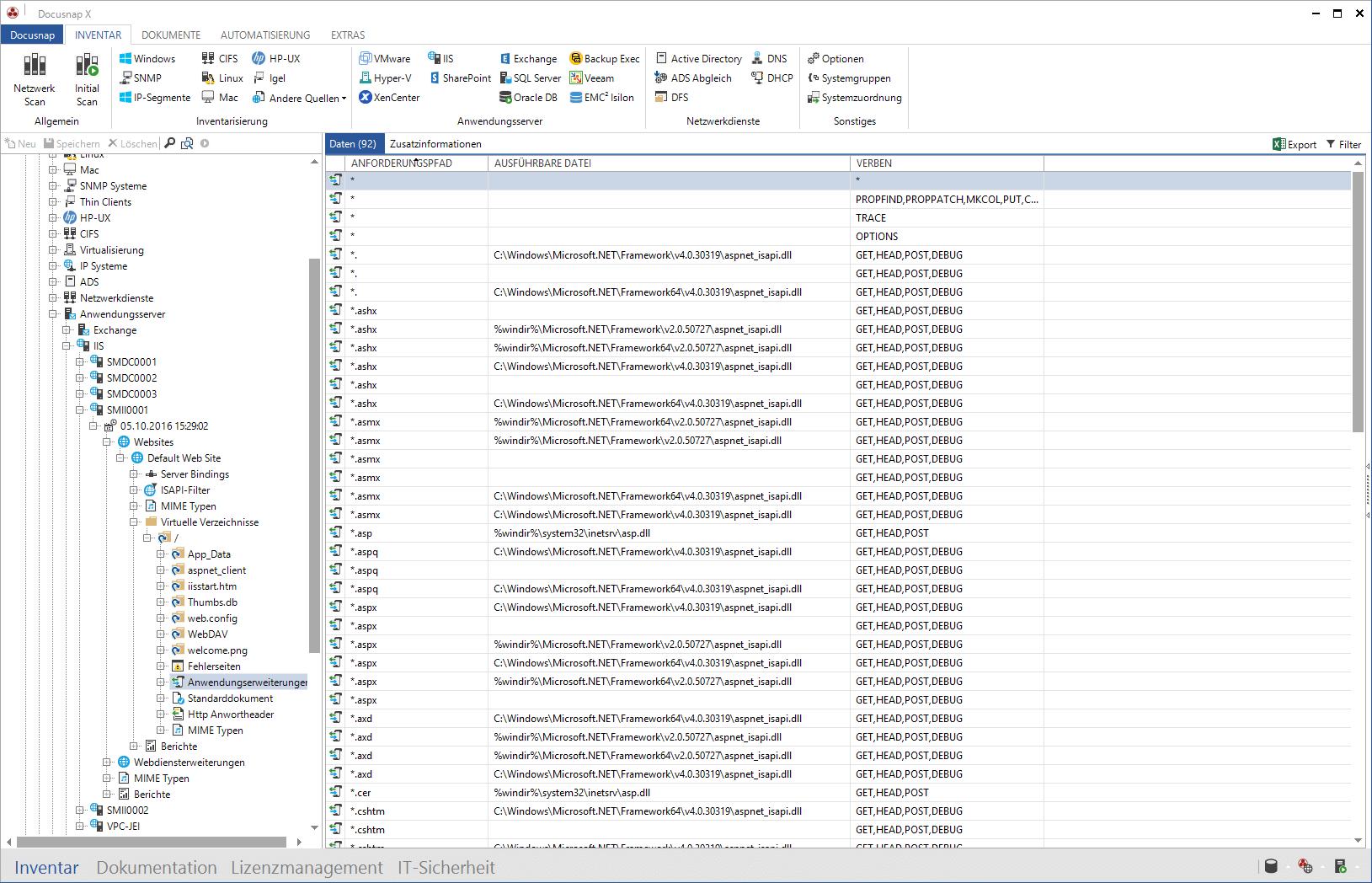 MS IIS Inventarisierung im Datenexplorer