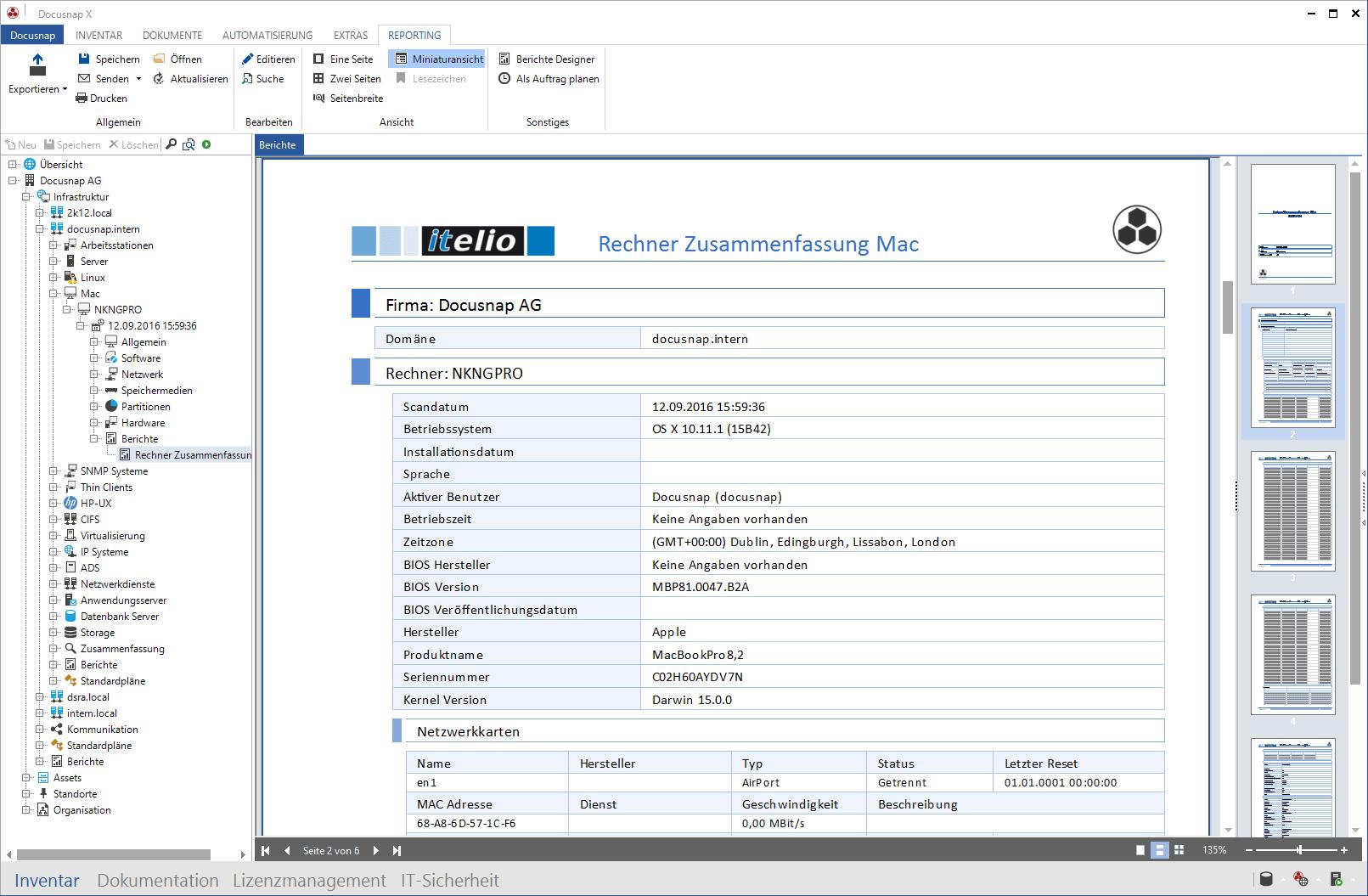 Screenshot: Systembericht macOS Hardware-Inventarisierung