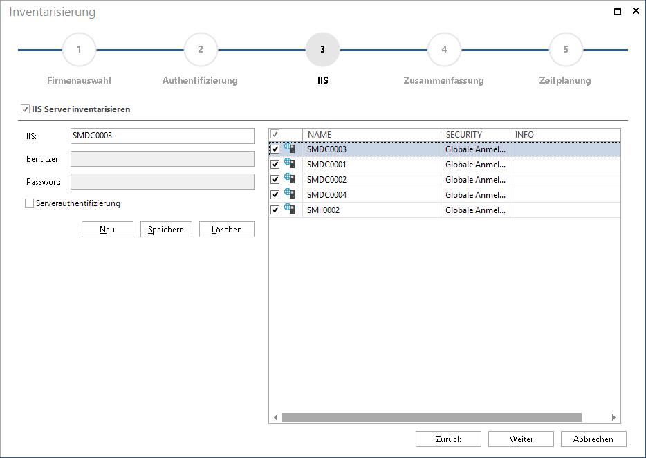 Screenshot: Microsoft IIS Inventarisierungsassistent