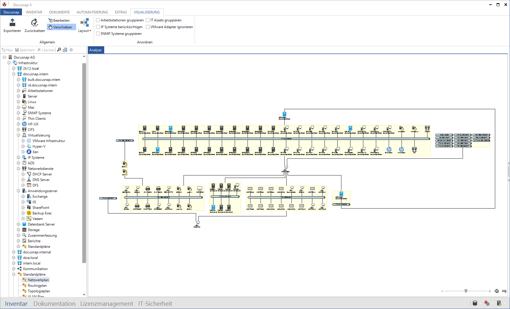 Screenshot: Mit Docusnap IP Segment Netzwerkplan darstellen