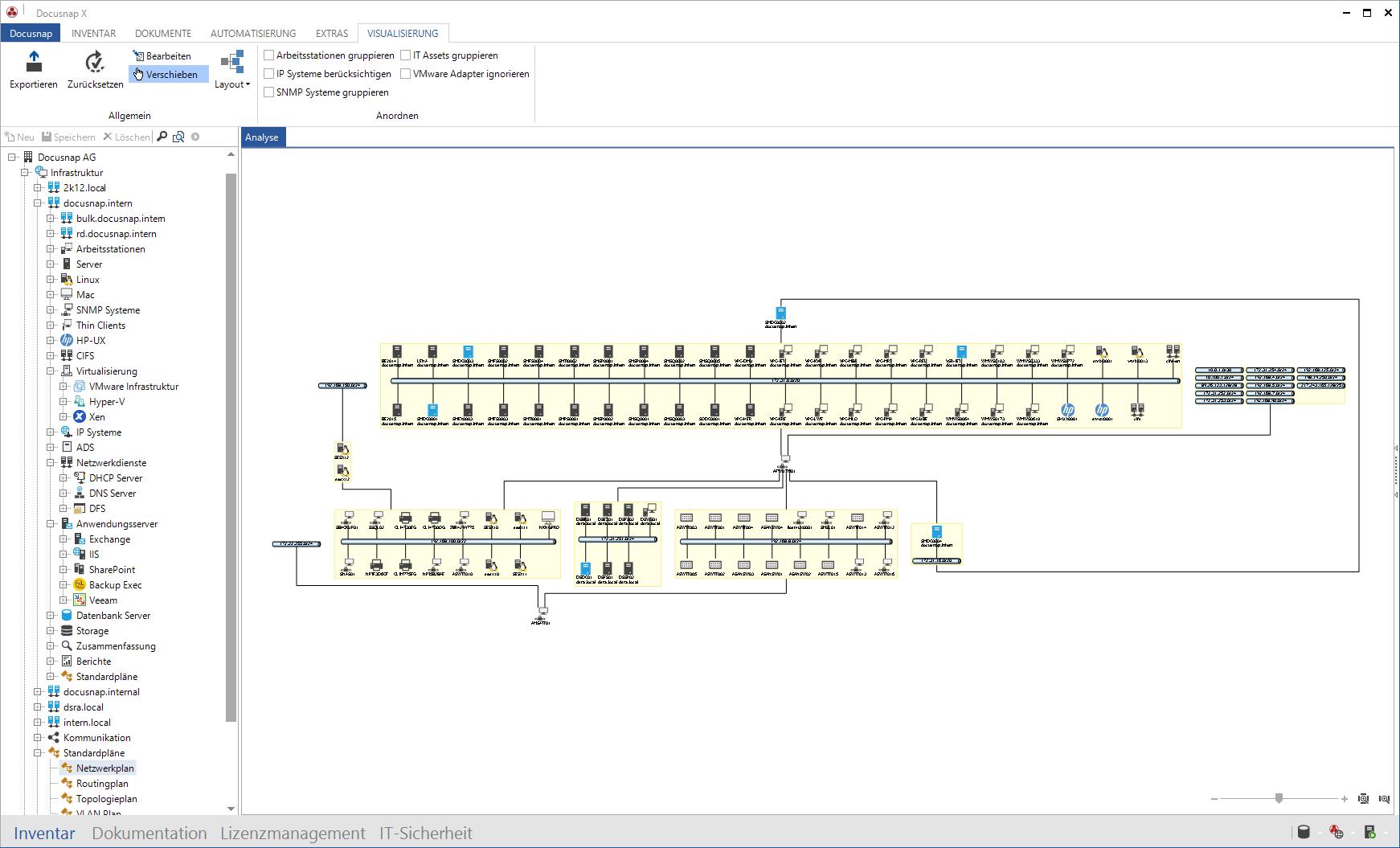 Screenshot: Netzwerkplan Windows Netzwerk-Inventarisierung