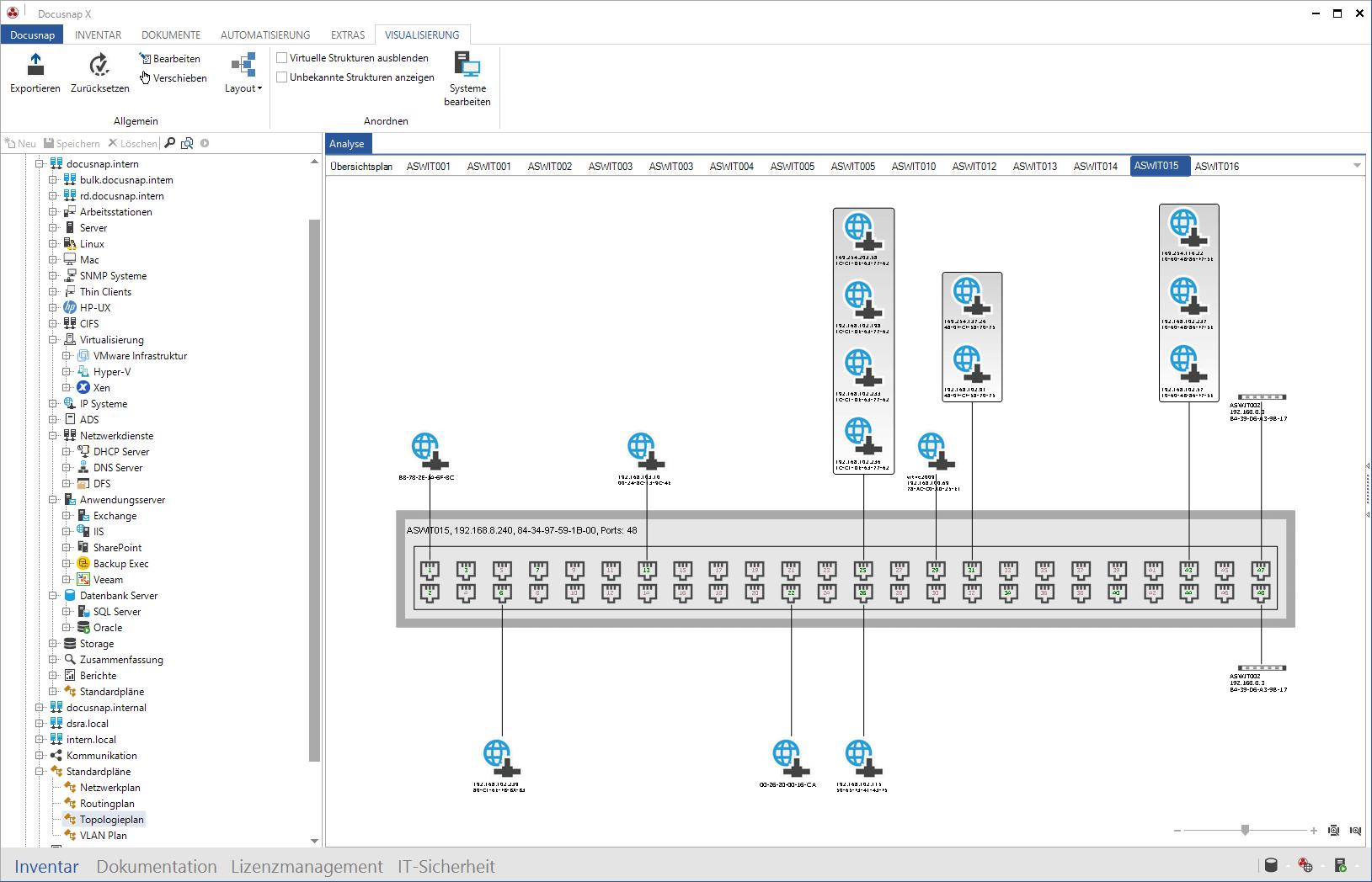 Screenshot: SNMP-Inventarisierung und Portbelegung