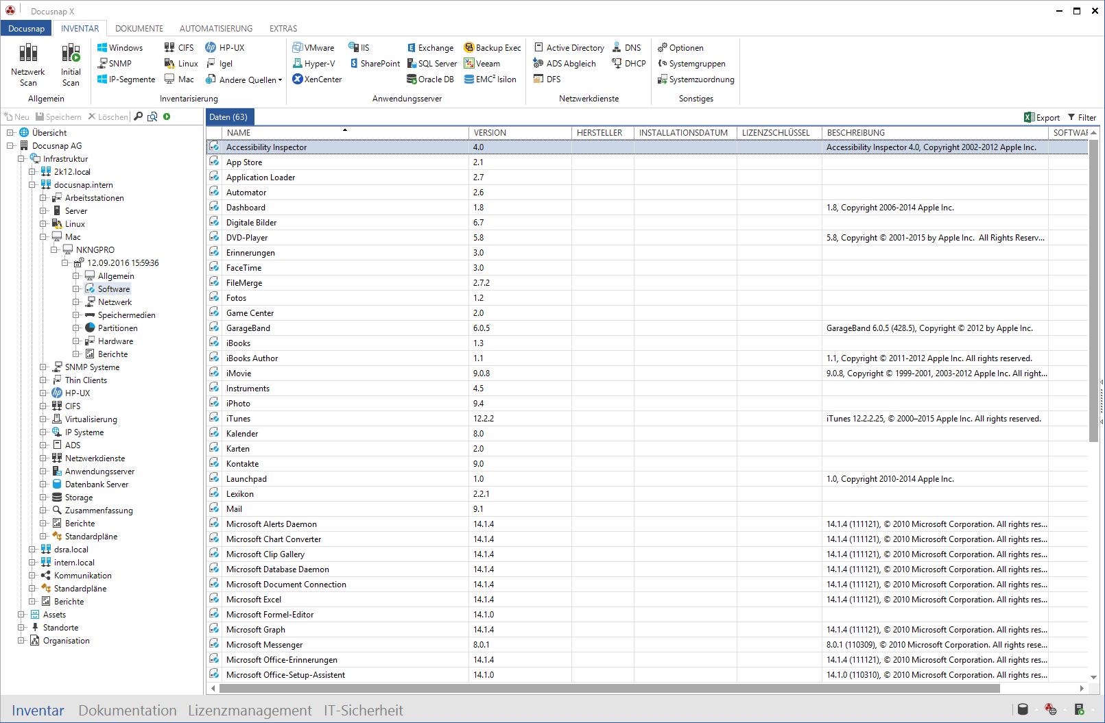 Screenshot: Inventarisierung von MacOS Systemen