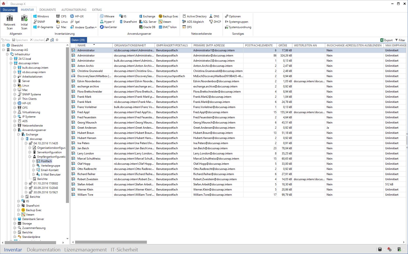 Screenshot: Übersicht Netzwerk-Inventarisierung