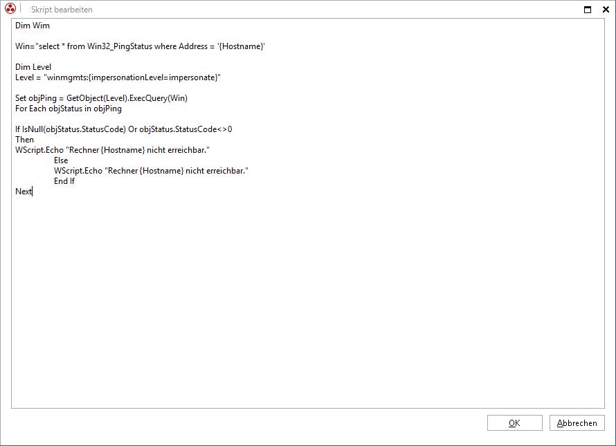 Screenshot: Verknüpfung von VBScripten auf Schaltflächen