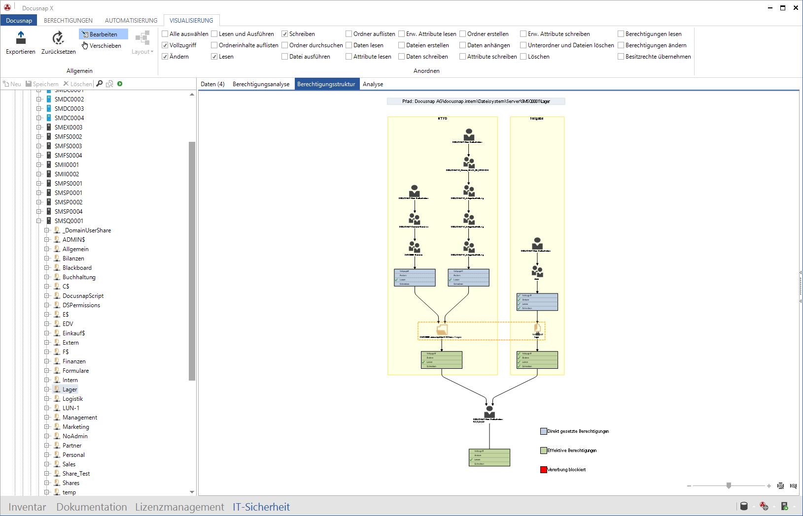 Screenshot: Windows Berechtigungen über Verzeichnisebenen darstellen