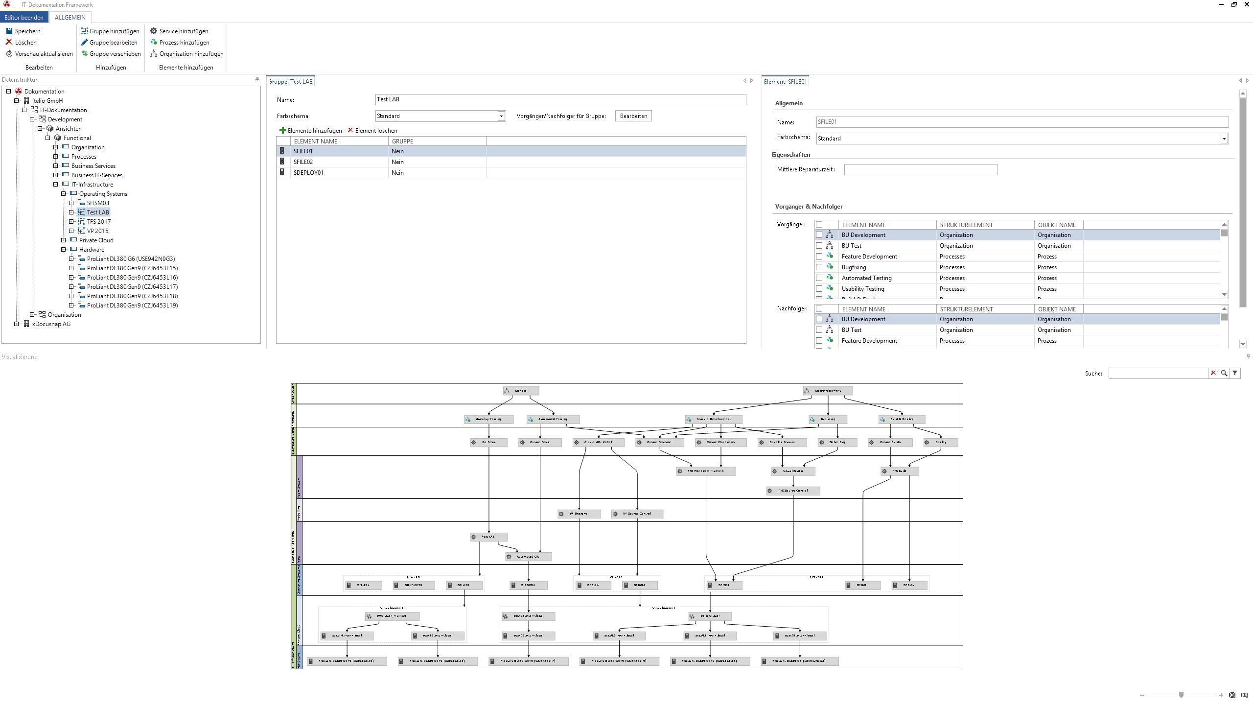 Screenshot: Editor zur Definitionvon Elementen