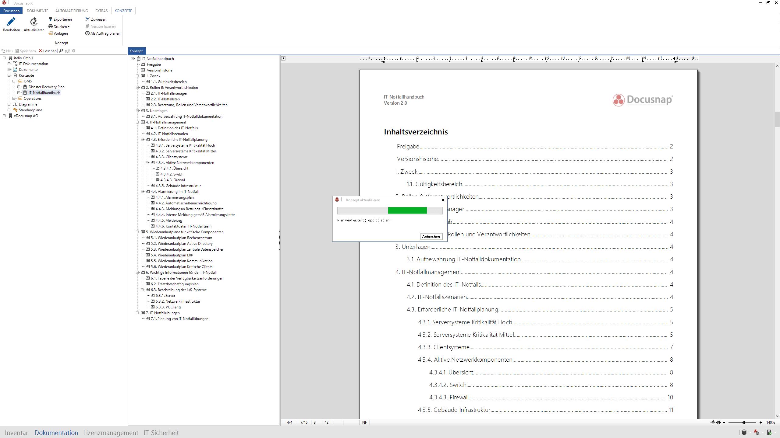 Screenshot: automatische Aktualisierung im IT-Notfallhandbuch