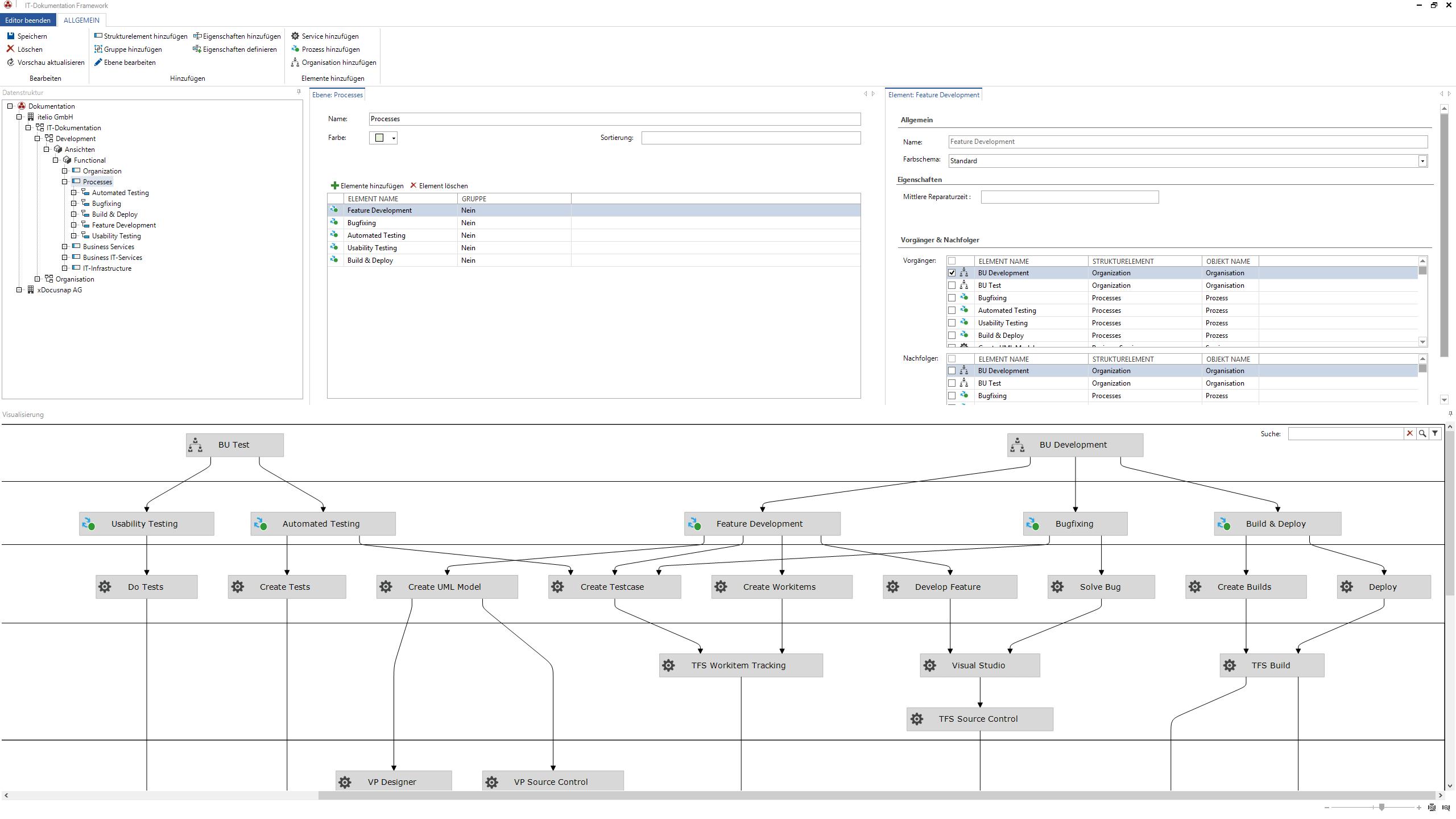Screenshot: Editor zur Definition von Elementen