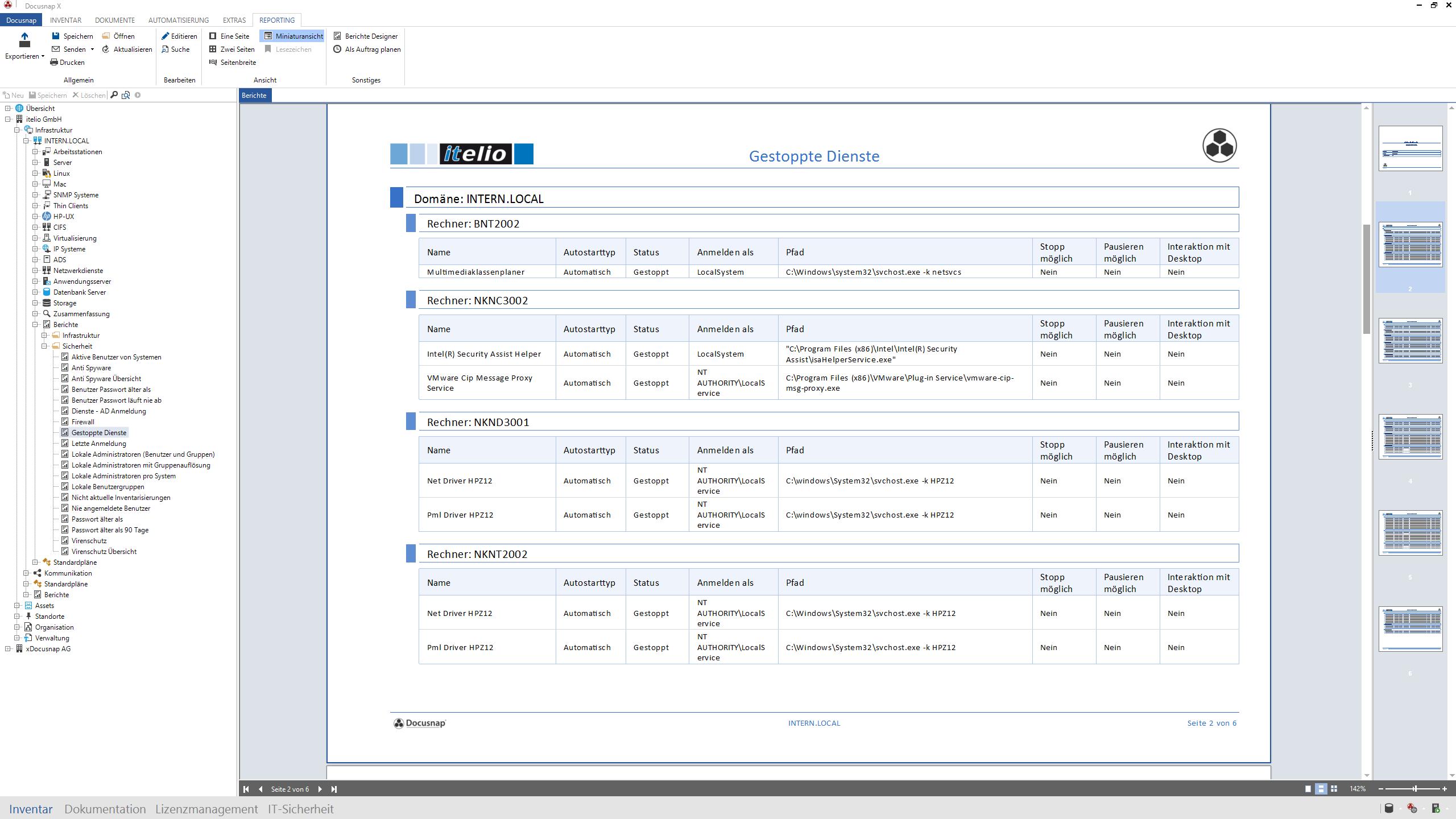 Screenshot: Feststellung nicht gestarteter Dienste