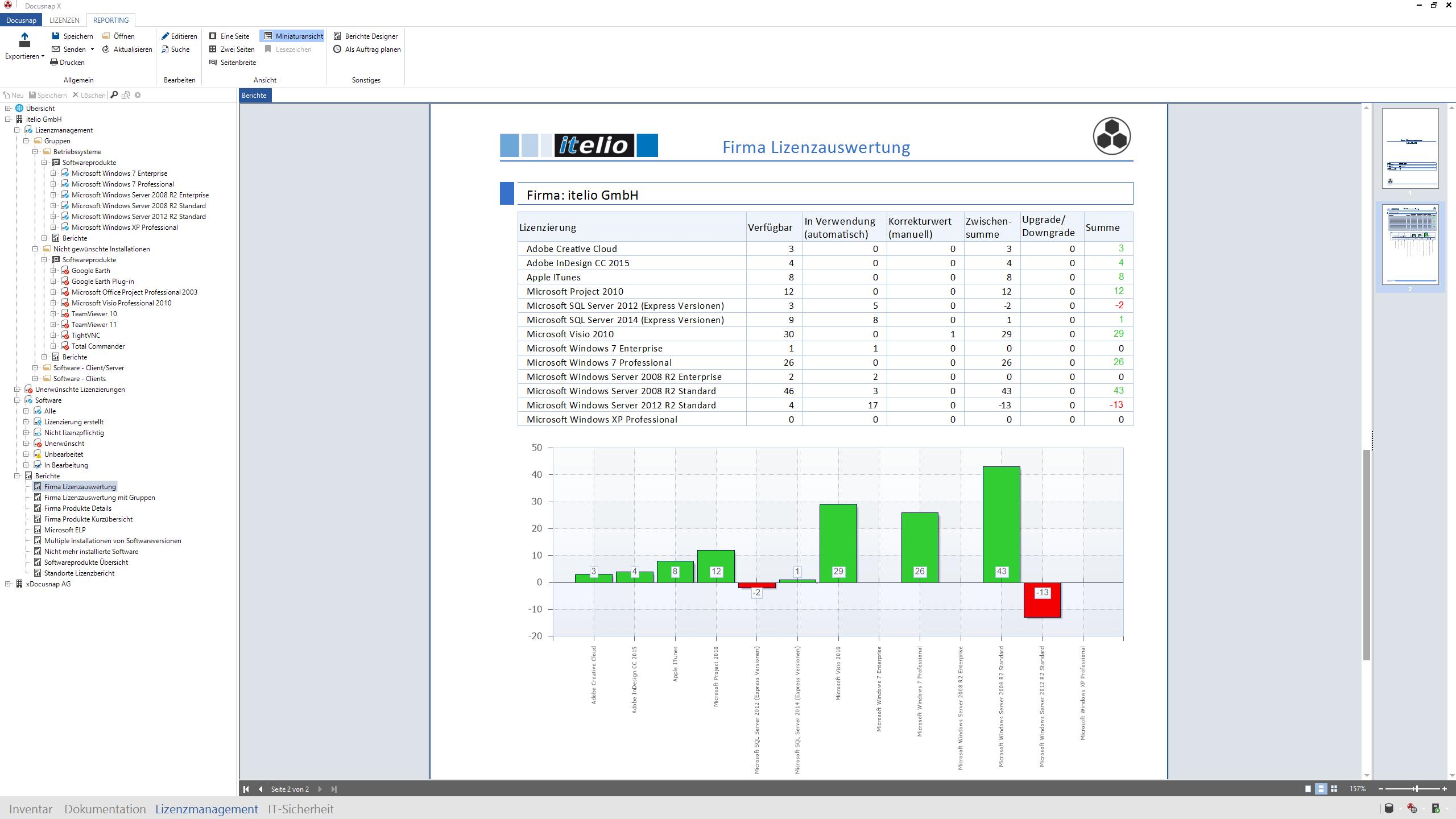 Screenshot: Lizenzauswertung eines Betriebs